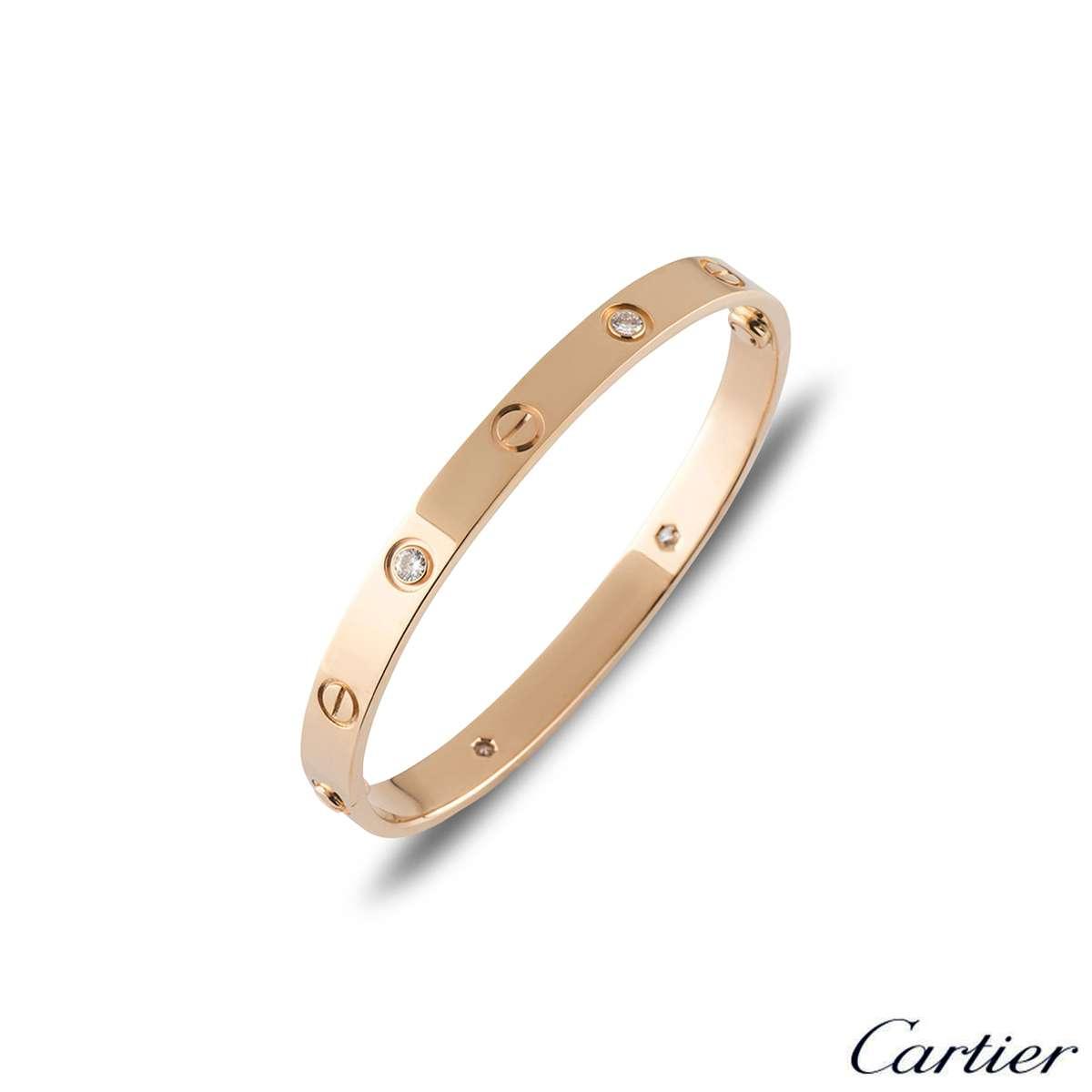 Cartier Love Bracelet Rose Gold Half Diamond Size 16 B6036016